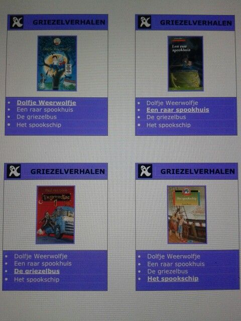 Kwartet met verschillende soorten boeken.  Te downloaden van digischool.