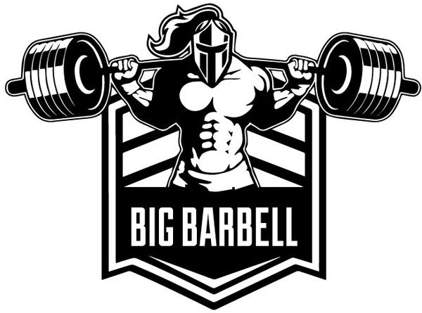 Big Barbell Illustration Strong Crossfit Bodybuilding Weightlifting Logo Black And White Gym Logo Bodybuilding Logo Crossfit Logo