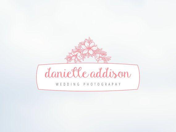 Feminine Flower Wedding Photography Logo Premade By SoloBeeDesign Photographer