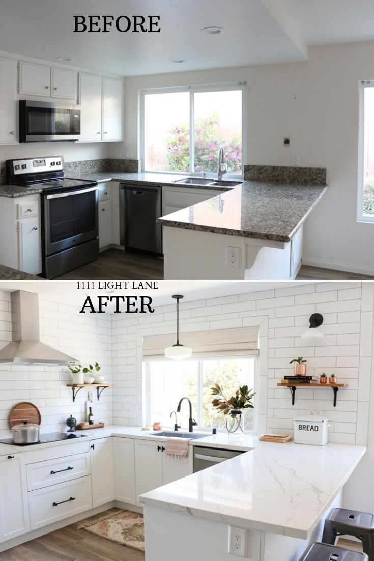 White Semihandmade Kitchen Renovation Before After 1111 Light