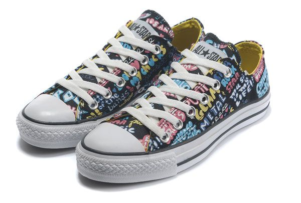 Atpdue.it * Nero Converse Chuck Taylor All Star Graffiti Print A / S Seas Canvas Low Top scarpe per la donna converse bianche basse converse sito uff