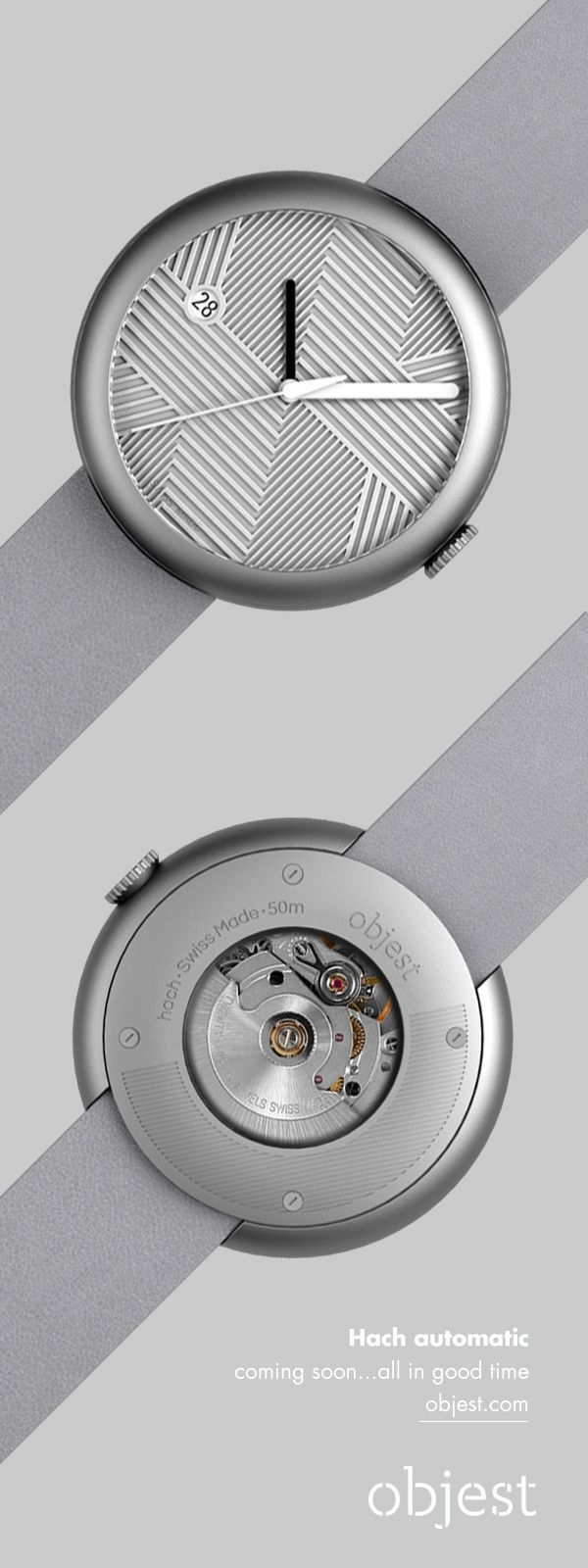 objest.com Objest hach silver/grey automatic. This cheeky little chap has a 42 mm case, ETA movement and comes with the same dial treatments we use in our quartz watches. Swiss made, always a good time. Launching soon, all in good time...info@objest.com