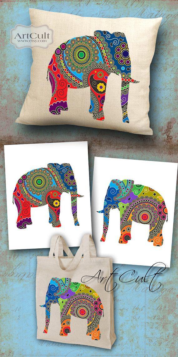 2 feuilles numérique Digital Images PAISLEY éléphants à imprimer sur tissu / papier, emballages de fer sur transfert pour t-shirts coussins décoration