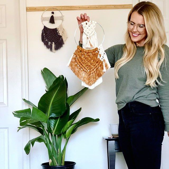 It's a dream catcher kinda day... ✨ these are adorable! 💕Shared by @thebraidedrope 🌿 #macrame #fiberart #wallart #wallhanging #homedecor #handmadebusiness #buyhandmade #shophandmade #rockmountainco #loveyourshopsweeps #etsy #gold #blue #fringe #dreambig #dreamcatcher