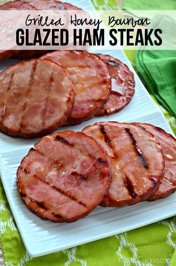 Grilled Honey Bourbon Glazed Ham Steaks Recipe using @stokgrills