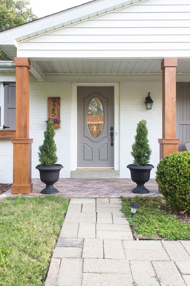 Exterior House Colors With Stone Ranch Style White Trim
