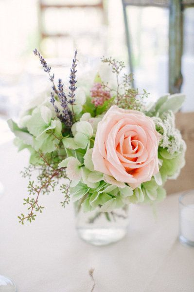 see how the little bit of lavender works with these colours - the green of the hydrangea (also available to use for your wedding) and the peach roses - will work with some brighter oranges/corals too