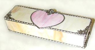 "Ivory Jewelry Box w/ Pink Stained Glass Heart - 3 1/2"" x 9"" - $39.95  - Handcrafted Stained Glass Heart Design  * More at www.AccentOnGlass.com"
