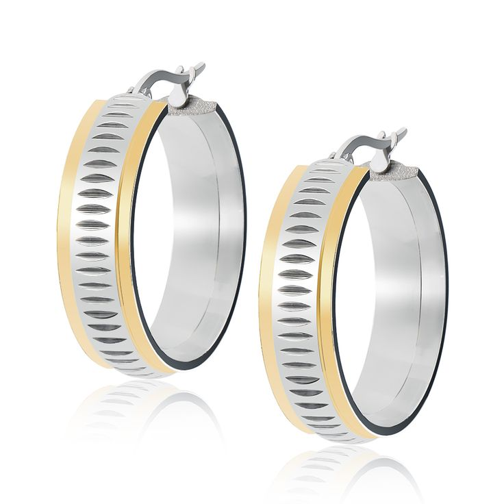 Fashion Unisex 316L stainless steel circle hoop earring with gold frames free shipping