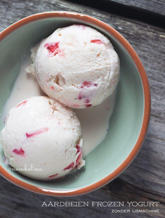 Aardbeien Frozen Yogurt zonder Ijsmachine - Nombelina.com