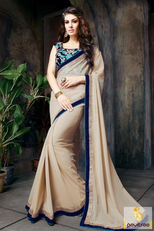 #Beige Color, #Georgette, #Designer, #Embroidery Saree, #New Style Saree, #Buy Sarees online, #Saree with Sleeveless Blouse. More Info.: http://www.pavitraa.in/store/embroidery-saree/ Call / WhatsApp : +91-76982-34040  E-mail: info@pavitraa.in