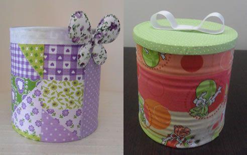 Lata reciclada decorada com tecido passo a passo: Recycling, Reciclada Years, Decorada Years, Cans Decorated