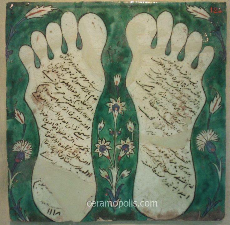 Iznik Tile 1706 – Prophet Muhammad's Footprints Iznik Tile 18th – Benaki Islamic Museum Greece
