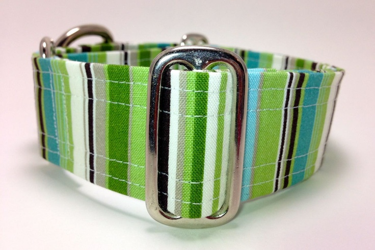Blue, Green, and Brown Striped Wide Martingale Dog Collar - Custom Size. $20.00, via Etsy.