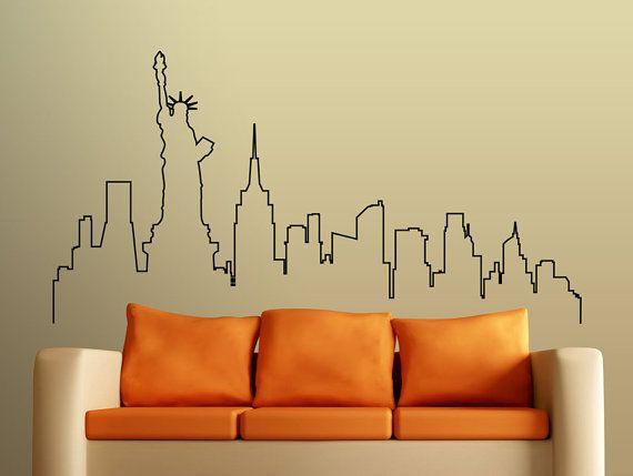 Wand Aufkleber Skyline von New York, schöne Stadt Skyline Aufkleber, Wohnzimmer…