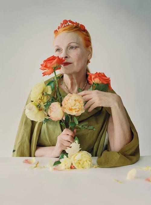 Vivienne Westwood portrait with flowers - October 2009