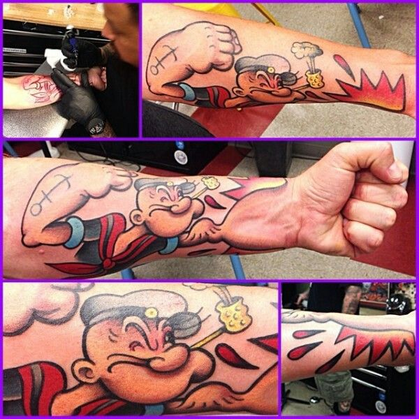 Popey fist tattoo