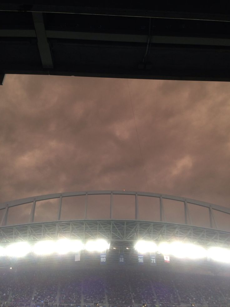 Ominous looking clouds tonight during the lightening delay at the Hawks game