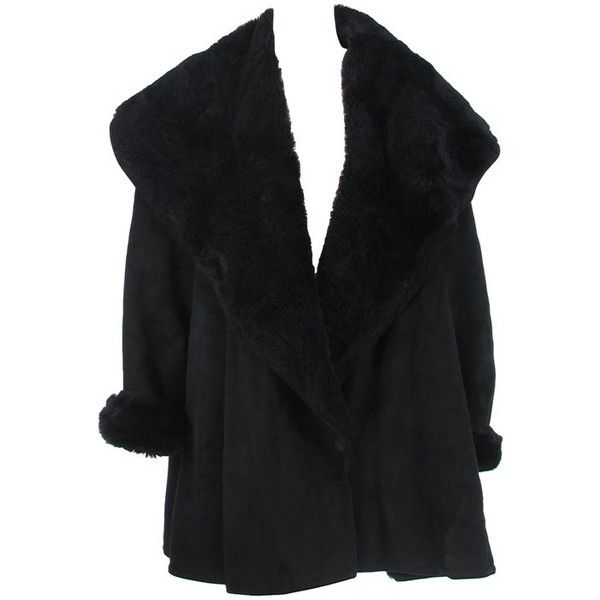 1980s Calvin Klein black shearling swing coat ($55) ❤ liked on Polyvore featuring outerwear, coats, jackets, coats & jackets, tops, shawl collar coat, trapeze coat, swing coat, long coat and calvin klein coats
