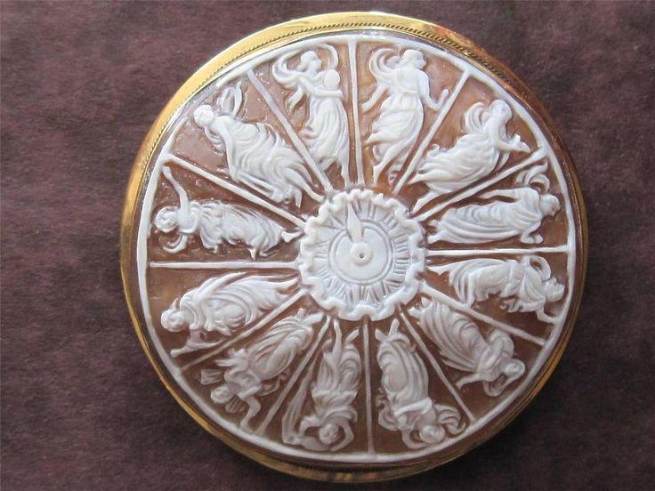 Estate Find...Rare Vintage 18k Gold 12 Hour Clock Goddesses Cameo Brooch Italy