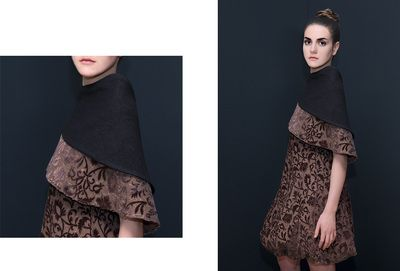 """""""Brown"""" Dress with cape. This dress is made of RENAISSANCE velvet named after its Renaissance design. It is a pure silk """"jacquard"""" piece. The """"Cumino"""" cape is made of RENAISSANCE velvet and wool and silk fabrics. DISCOVER THE COLLECTION >"""