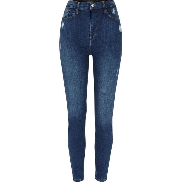 Harper Blauwe skinny jeans met hoge taille ($53) ❤ liked on Polyvore featuring jeans, denim jeans, distressed jeans, skinny jeans, blue ripped jeans and skinny leg jeans