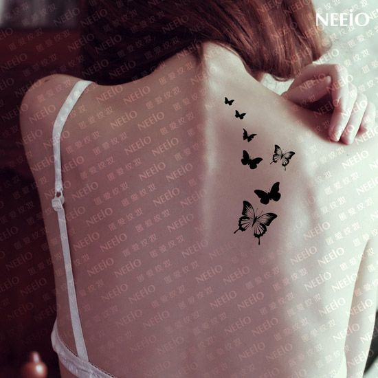 $2 temporary tattoo  small black butterfly diy  stickers  waterproof Women  tattoos stickers body art tattoo sticker