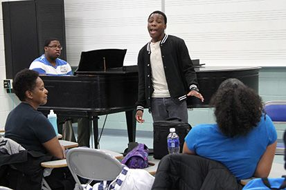 Jude Desinor performs in March 2014 during a meeting of the MCCC Music Club.