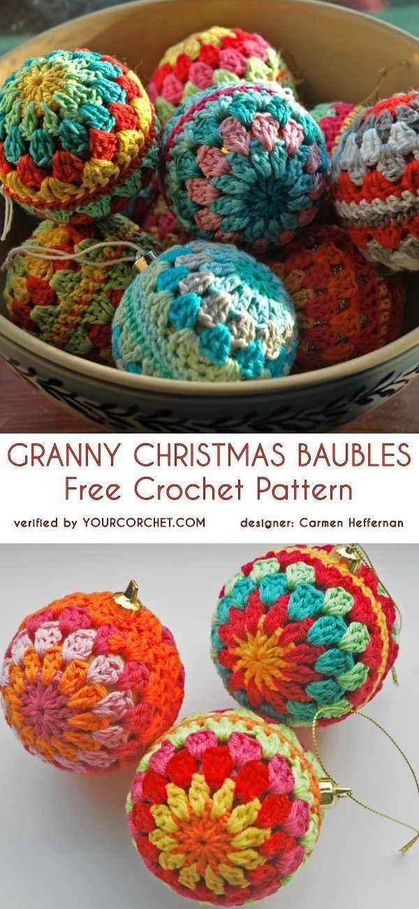 #freecrochepatterns easy baubles quick Christmas gift idea - Easy Granny Christmas Baubles Free Crochet Pattern Handmade
