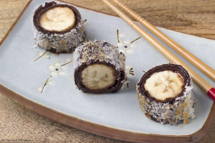 pannenkoek sushi met banaan en chocolade
