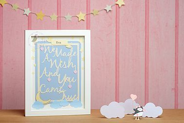 Pink Puffin Crafts | Made A Wish Personalised Frame | Baby | Nursery Decor