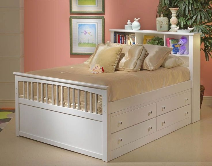 White Full Size Bed With Drawers Is Also A Kind Of Bed With Storage Drawers  Underneath