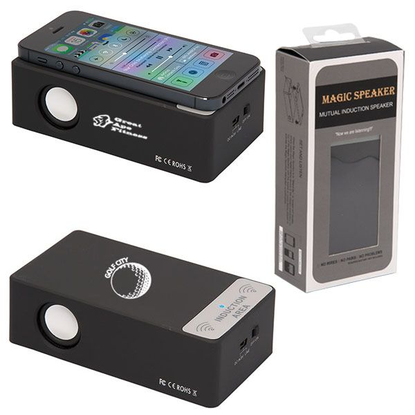 Induction Speaker (From $15.00) - Universal induction speaker amplifies most phones and mp3 players with external speakers. No cords or bluetooth technology required! Picks up on the vibration of your phone to amplify sound wirelessly. Science; it's crazy!