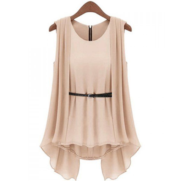 Stylish Scoop Collar Solid Color Belted Irregular Design Sleeveless Chiffon Blouse