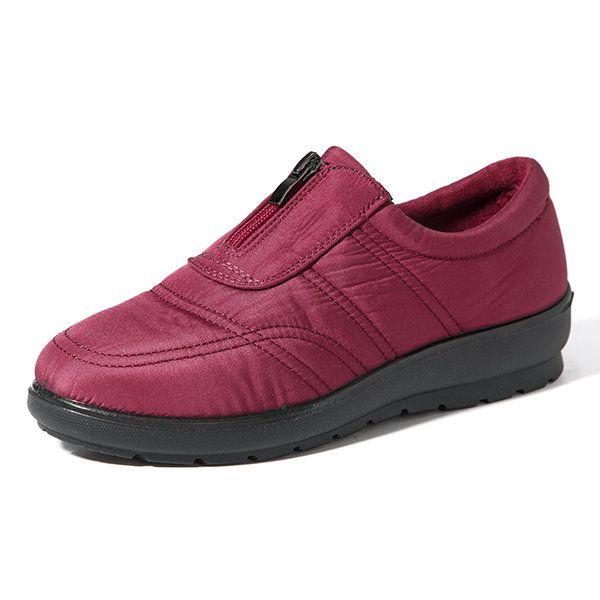 Zapatos planos cómodos impermeables de color puro con cremallera delante de talla grande