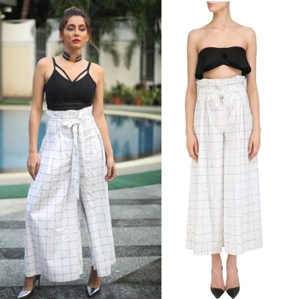 Anusha Dandekar looks absolutely stunning in this pair of White Checkered Paper Bag Waist Culottes by Nishka Lulla Mehra.  Shop now at: https://www.instagram.com/nishkalulla/?hl=en  #celebcloset #anushadandekar #vjanusha #bollywoodfashion #indianfashion #indiandesigner #nishkalullamehra #shopnow #happyshopping #perniaspopupshop