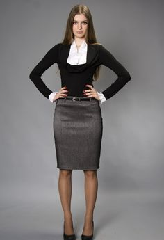 Charcoal Belted Pencil Skirt Black and White Top Sheer Black Pantyhose and Black High Heels