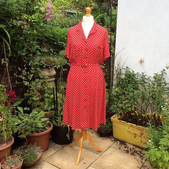 Vintage 40s style 90s red dress UK 18 US 14 EU 46 Marks &