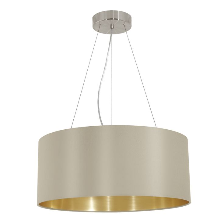 LAMPA wisząca MASERLO 31605 Eglo abażurowa OPRAWA zwis okrągły nikiel satynowany czarny złoty