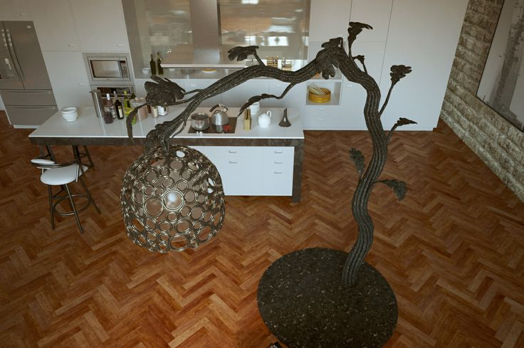 Hand forged floor lamp with hand blown glass. Height: 2,2 meters.