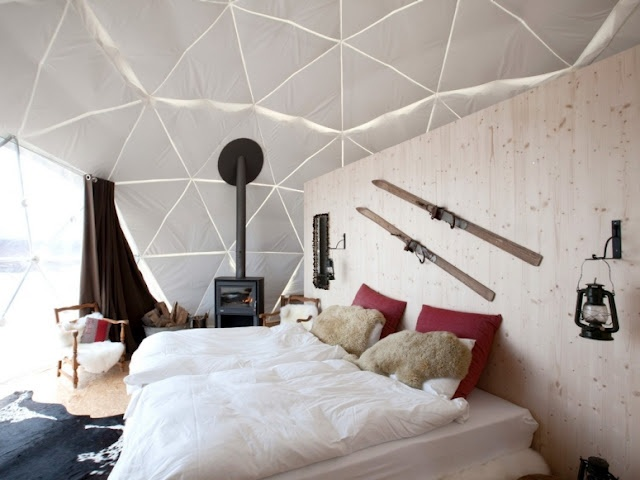 Glamping in Les Giettes, Switzerland.  http://blog.favoroute.com/top-10-eco-travel-hotels/