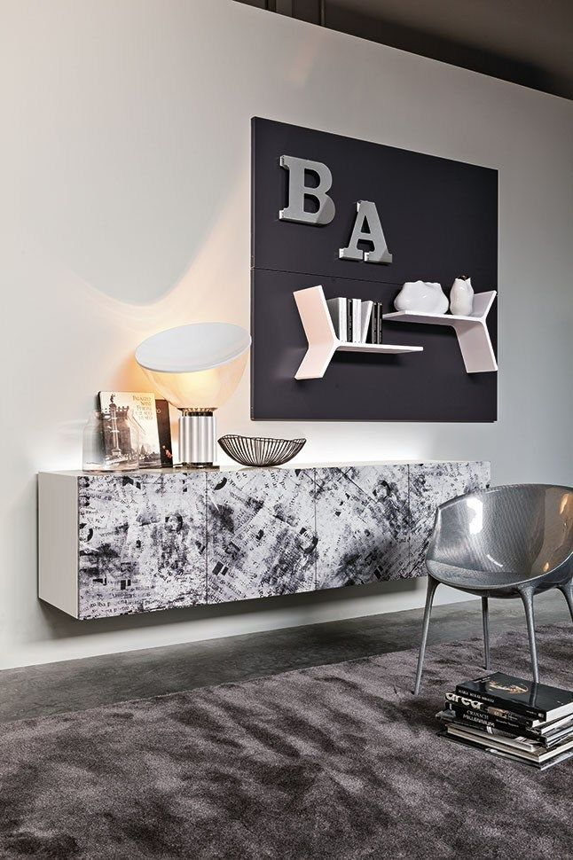 Contemporary style suspended wooden sideboard with doors Sydney by @rondadesignsrl  | design Ronda Design