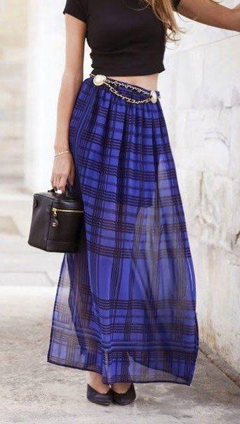 Стильные юбки макси в образах.