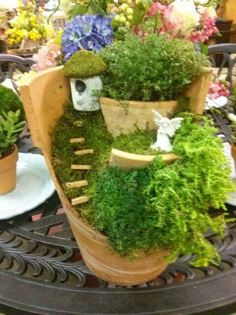 Fairy Garden Out Of A Broken Clay Pot Fairy Gardens