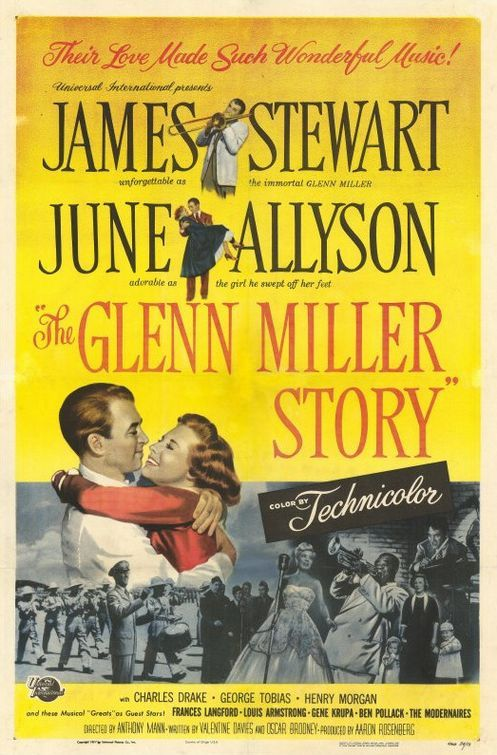 """The Glenn Miller Story (1953) One of the most profitable biopics ever filmed, The Glenn Miller Story traces Miller's rise from pit-orchestra trombone player to leader of the most successful big band of his era -- the early 1940s. Girl-next-door June Allyson plays Miller's wife, Helen, who learns the value of patience while Glenn searches relentlessly for """"the sound"""" that will put him on top. Louis Armstrong and Gene Krupa pop up in cameos. James Stewart, June Allyson...4"""