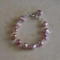 Pink Pearl and Crystal Bracelet