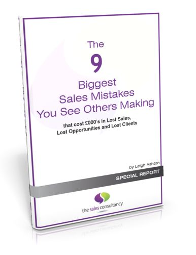 9 Biggest Sales Mistakes Free report! Jump over to our website now to get your copy sent straight out! www.sales-consultancy.com