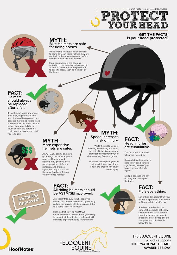 We strongly believe in the importance of riding helmets, and having taken a few hits to the head in our time can speak from experience about how they really do save lives. So to show our support for International Helmet Awareness Day 2015, we've got a brand new HoofNotes infographic devoted to giving you the facts, and debunking some of the myths, around helmet safety.