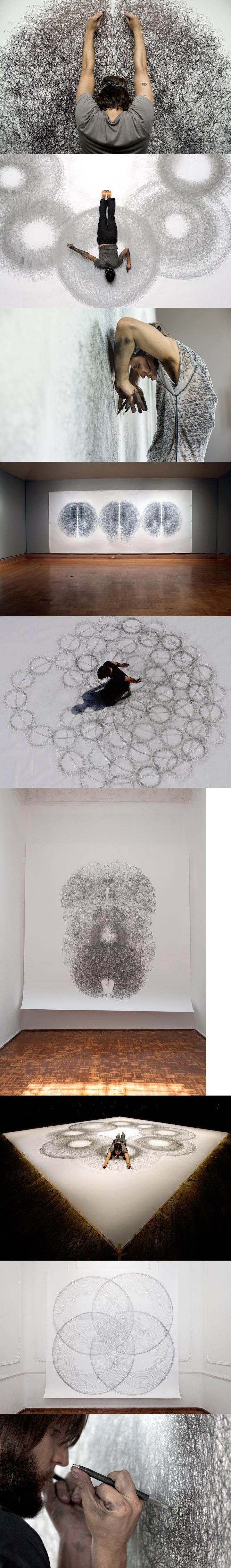 Artist Tony Orrico created the series Penwald Drawings to experiment with his body as a form of measurement