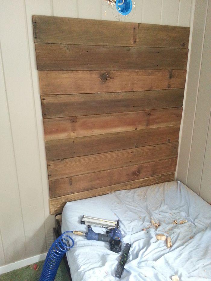 DIY Rustic Wood Headboard & Light (for under $45!) | Jenna Sue Design Blog